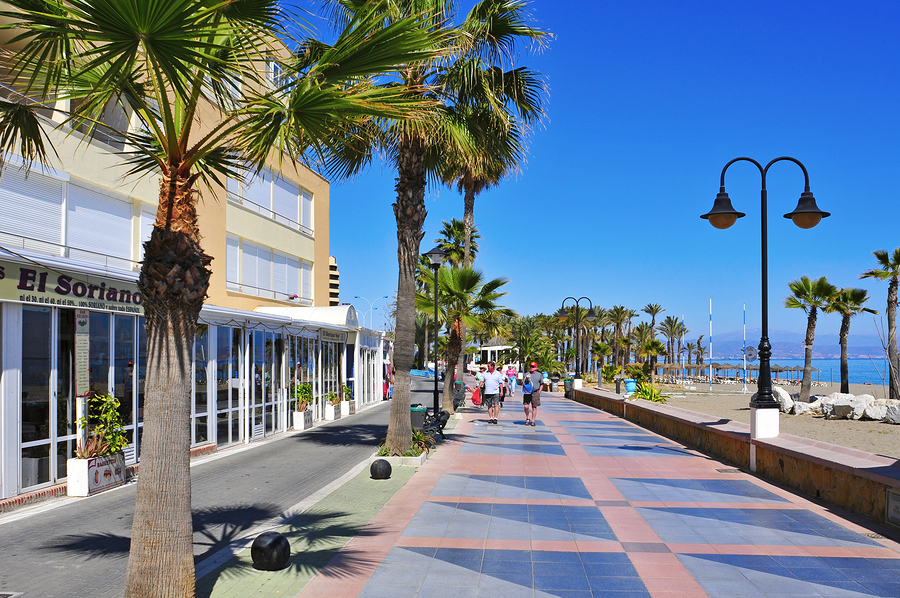 Torremolinos, SPAIN - MARCH 13: Ocean front walk and Bajondillo