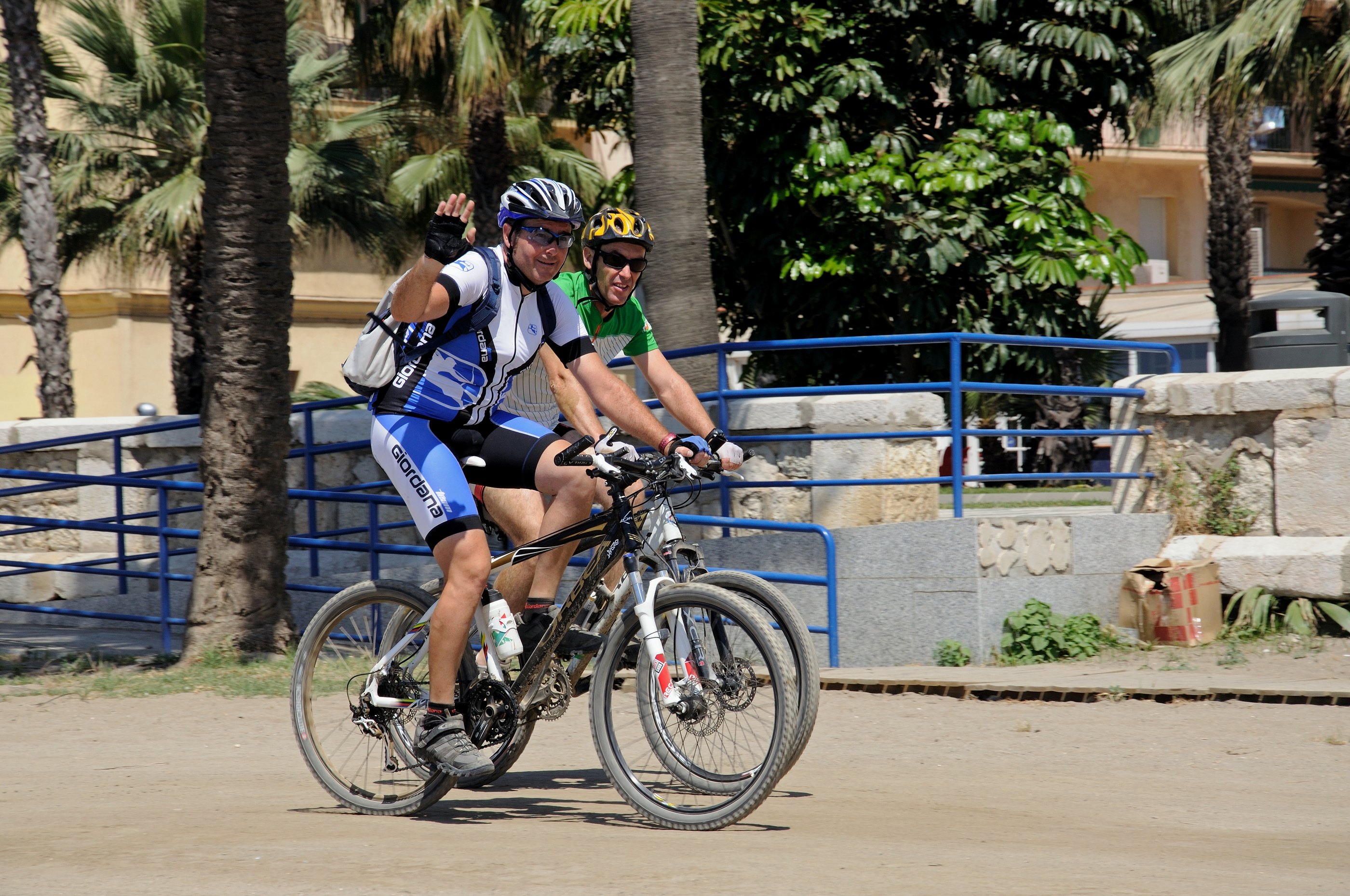 Cyclists on promenade, Málaga.
