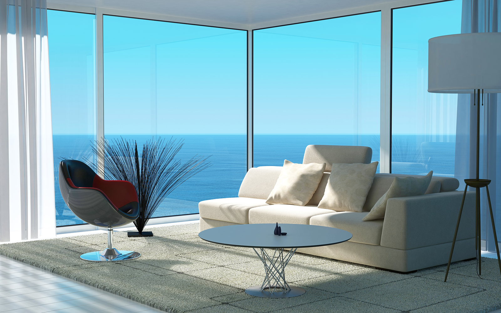 Luxe villa A 3D rendering of sunny living room interior