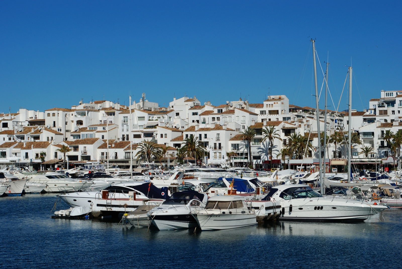 Marbella property and living Boats in marina, Puerto Banus, Spain.
